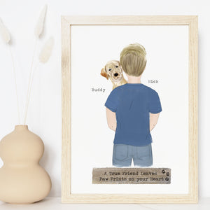 Personalized Man and Dog Best Friends Print Art