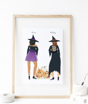 Personalized Witches Art Print for female best friends gift /  Halloween Gift