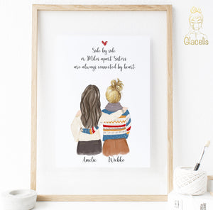 "Personalized Side by side or miles apart, sisters will always be connected by heart Print Art Two Women - Our personalized side by side or miles apart, sisters will always be connected by heart print is perfect for telling your sister or best friend how much you love her. Gift your favorite BFF our one of a kind, customizable art to say ""I love you"" with a cute and unique gift"