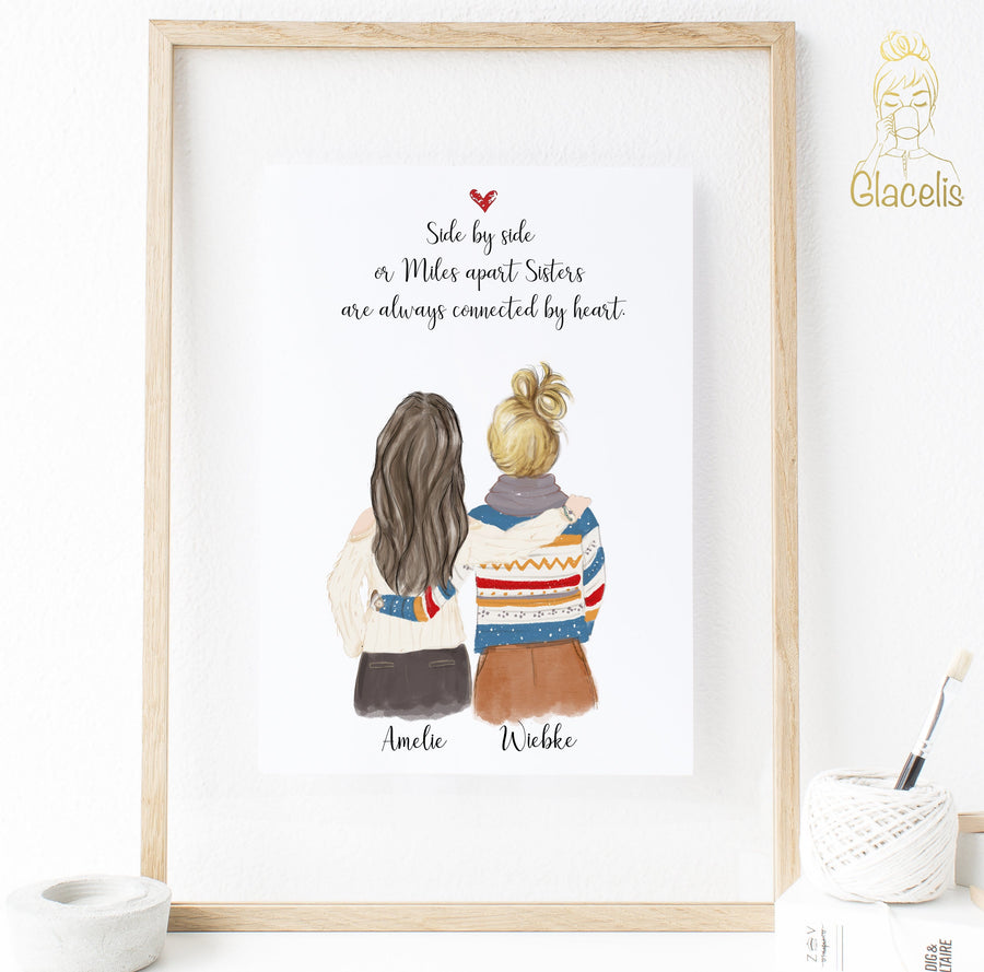 Personalized Side by side or miles apart, sisters will always be connected by heart Print Art Two Women