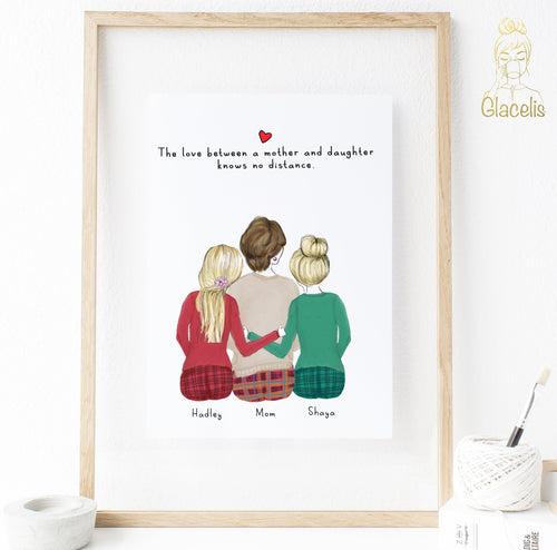 Personalized Daughters and Mom Print Art 2 Daughters