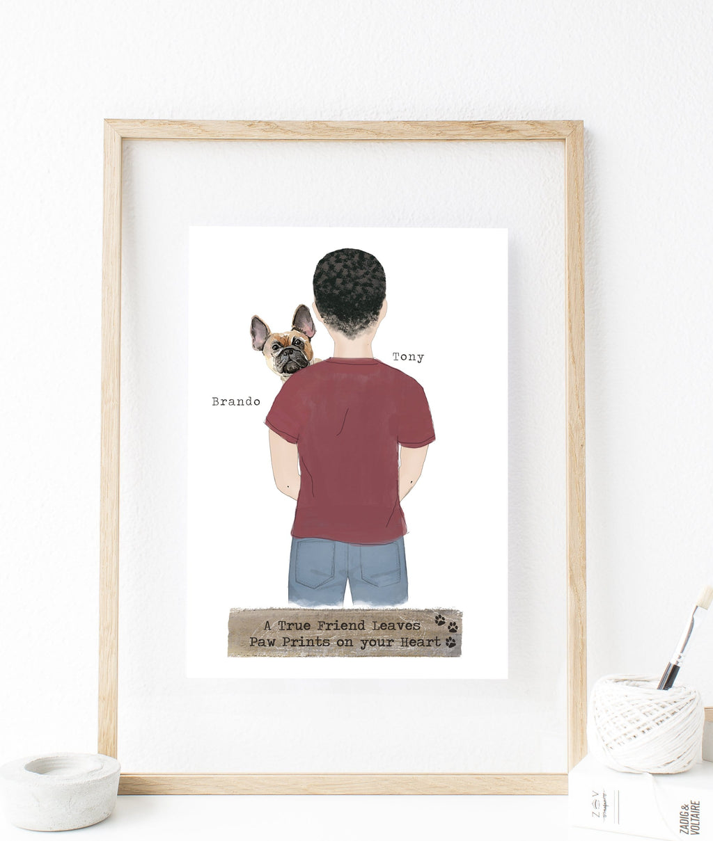 Personalized dad and dog print art man and dog print art custom