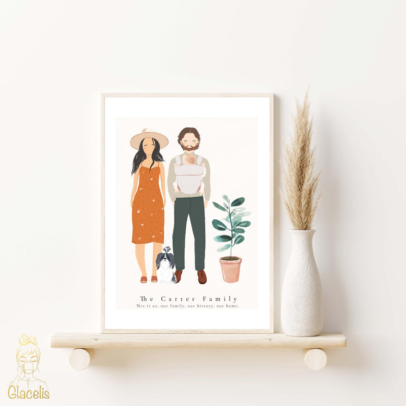 Personalized Family Couples Man and Woman and dog or Cat Art Print