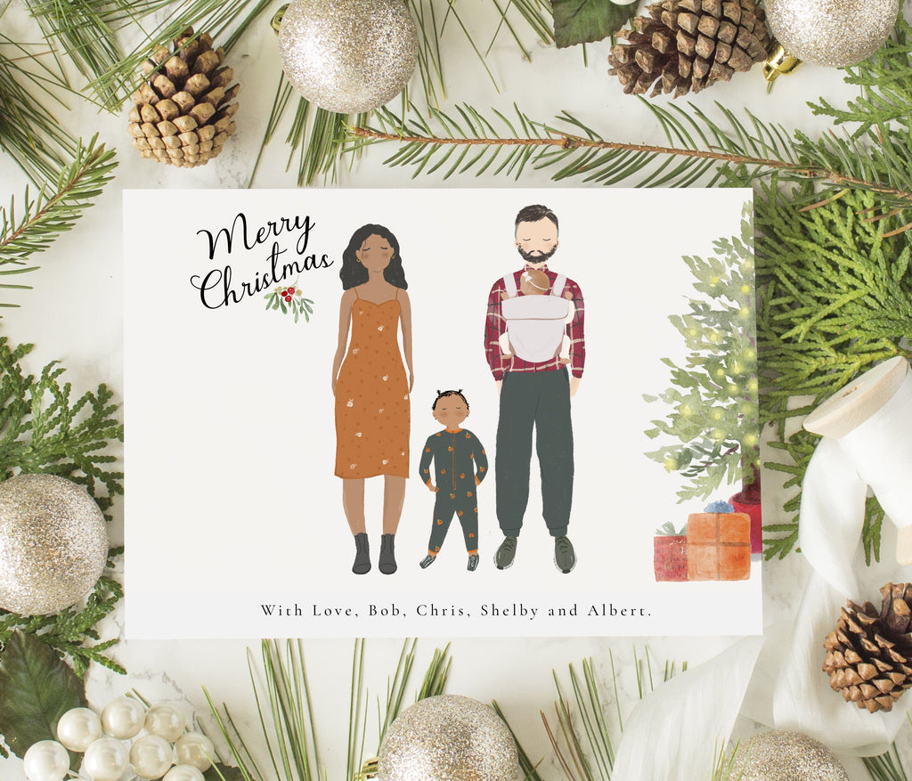Personalized Family Christmas Greeting Cards Family up to Four