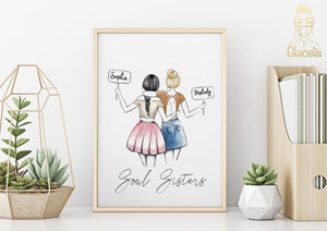Personalized Soul Sisters Wall Art - The perfect gift for your #1 Soul Sister! Your friendship with your BFF is unlike anything else and should be commemorated with a gift just as unique as you are