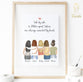 Five Women Custom Best friends  Print Art for Christmas