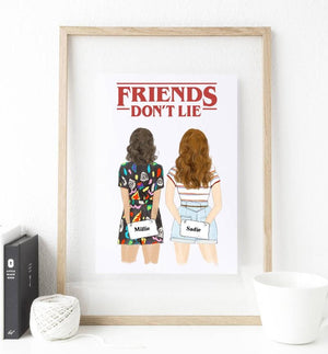 Stranger Girls - Friends don't lie - Mug and Print Art - Custom Personalized Gifts for friends, Family & special occasions!