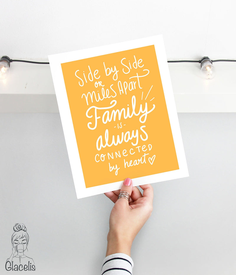 Side by side or miles apart family is always conected by heart print art glacelis