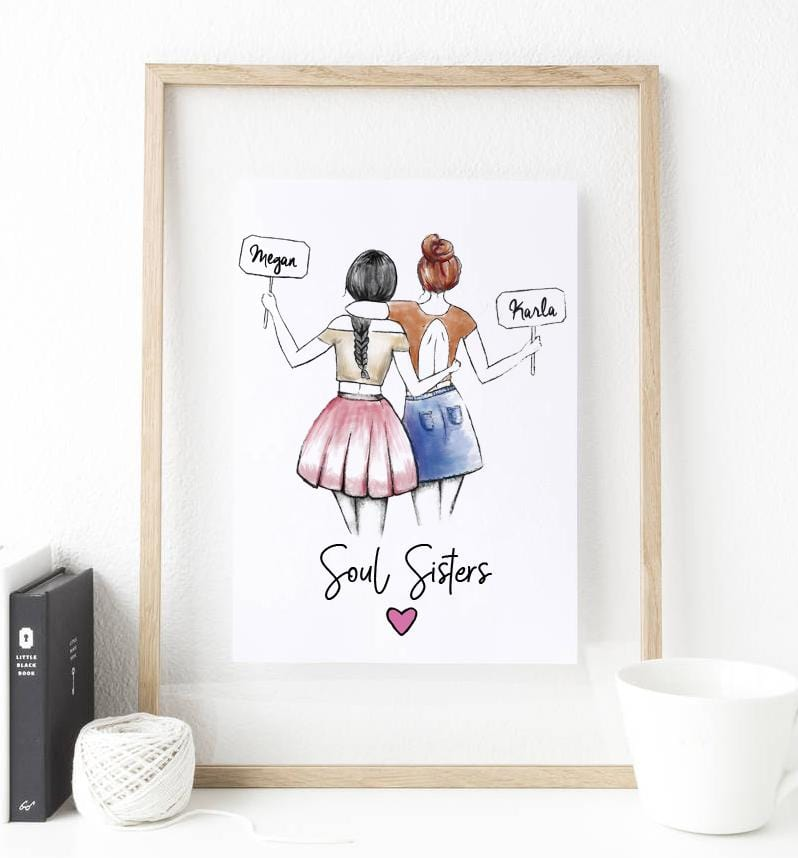 Personalized Soul Sisters Wall Art - Custom Personalized Gifts for friends, Family & special occasions!