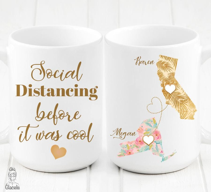 Long Distance Family mug Create a unique personalized gift for relationship distance.  custom long distance mug,state to state long distance mug, mom long distance mug, the love between best friends knows no distance mug, long distance relationship mug, long distance gift mom mug