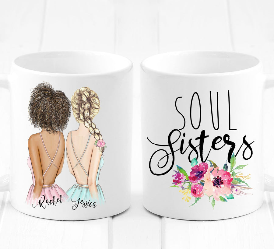 Best Friend Gift - Soul Sisters - Unique Friendship Gift on Mug - By Glacelis®