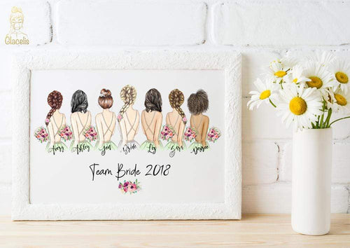 Personalized Team Bride Wall Art - Custom Personalized Gifts for friends, Family & special occasions!