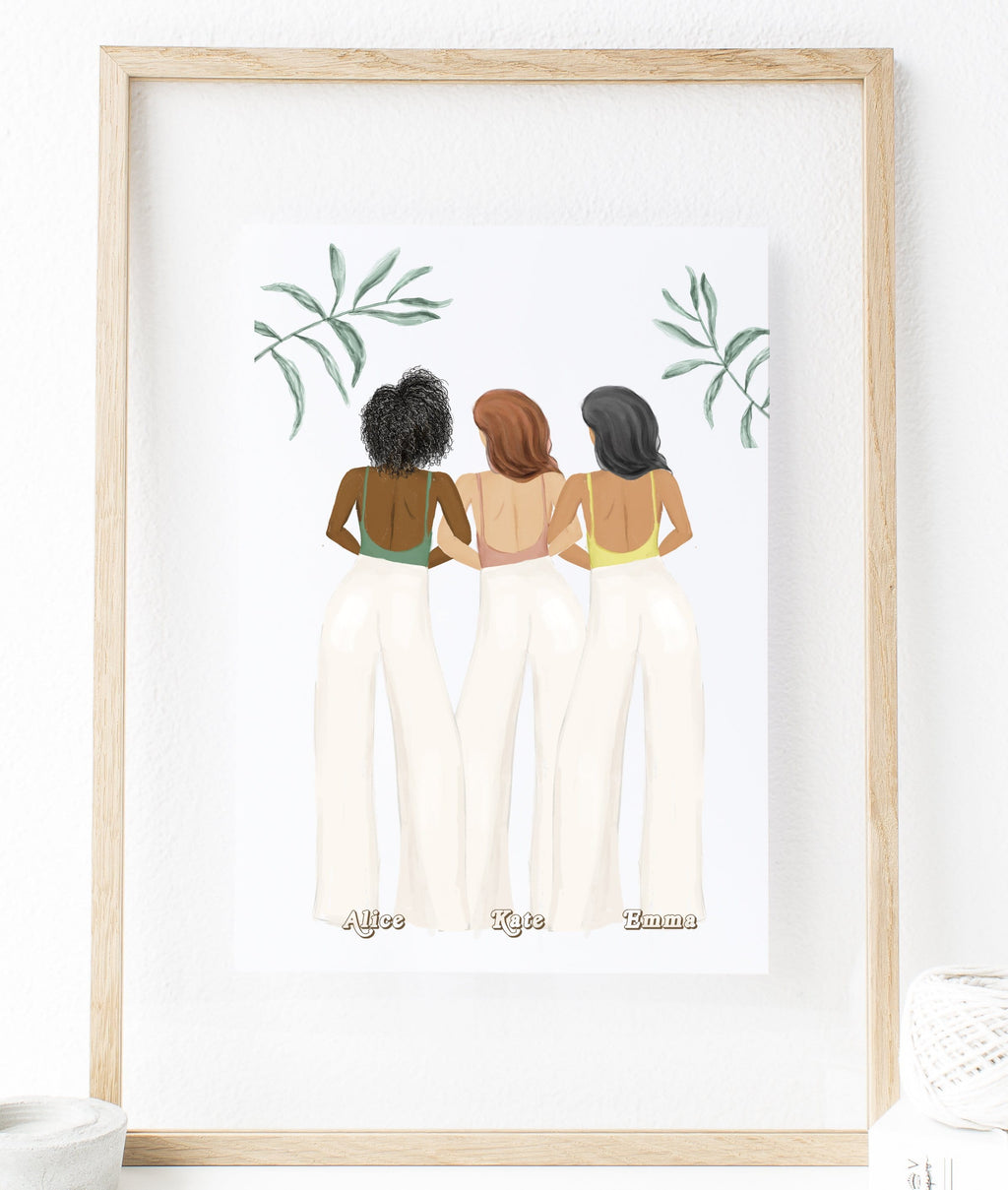 Custom Best Friend Print Art Three Women