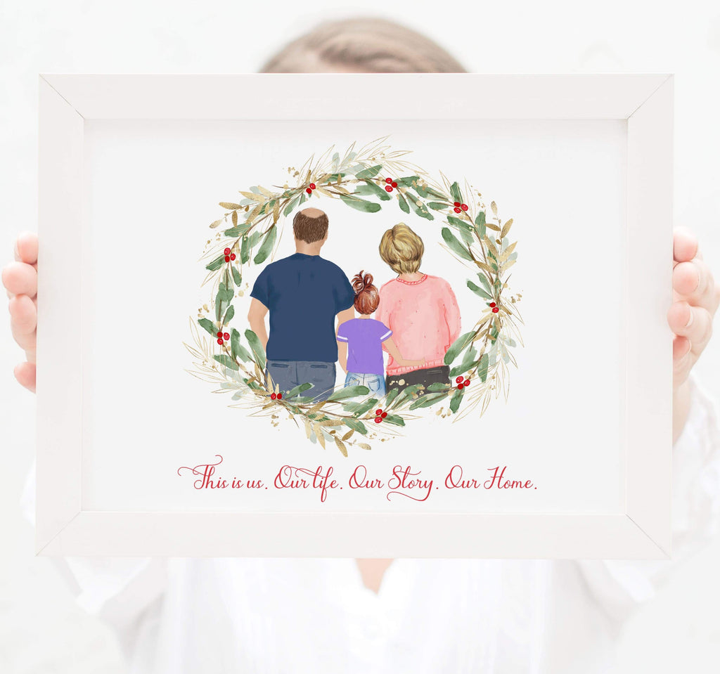 Family of three wall art Mom dad and toddler girl