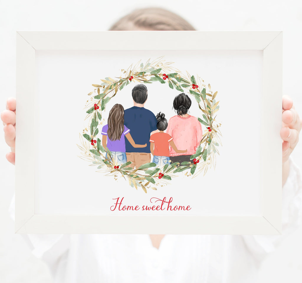 Personalized Family of four wall art Mom, dad, toddler and teenager girls