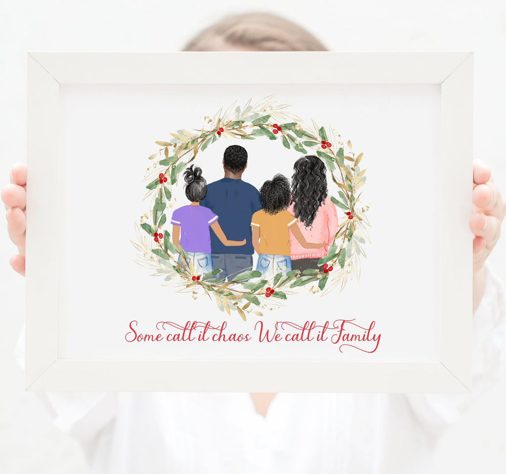 Personalized Family of four wall art Mom, dad and two teenager girls