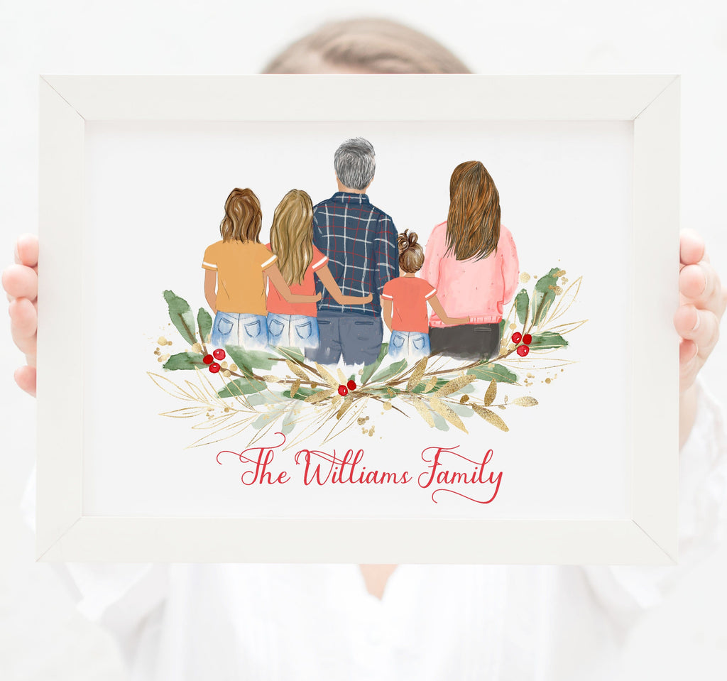 Personalized Family of five wall art Mom, dad, two teenager girls and one toddler girl