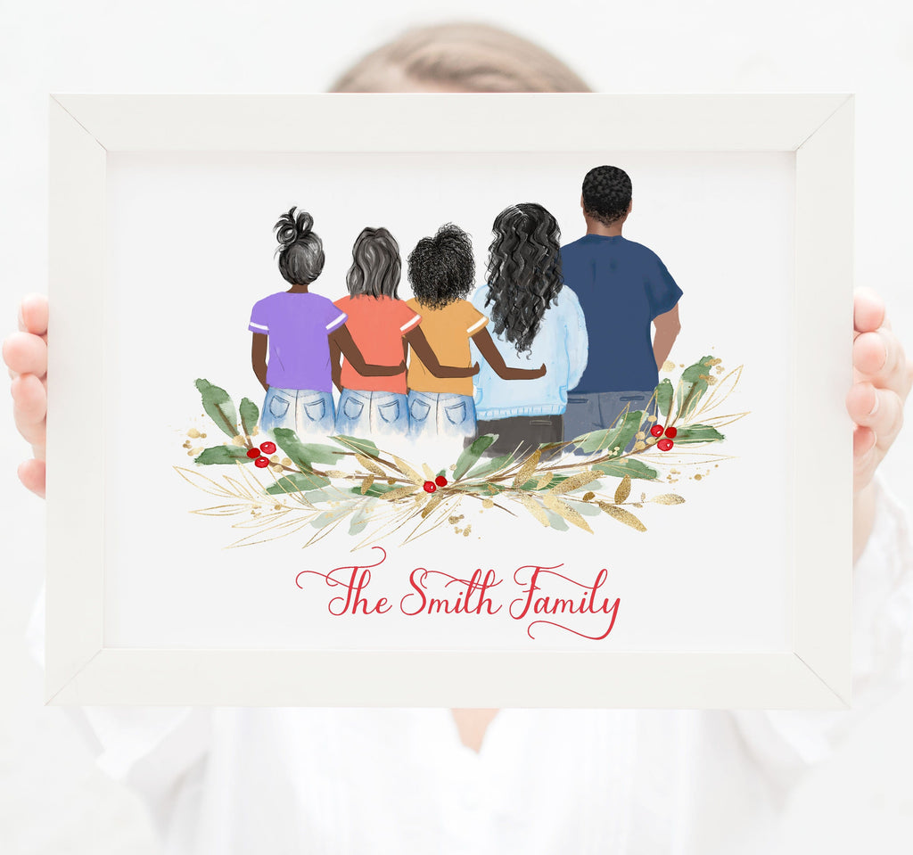 Personalized Family of five wall art Mom, dad and three teenager girls