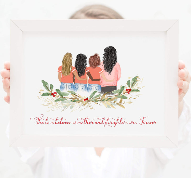 Personalized Mom and three daughters Print Art