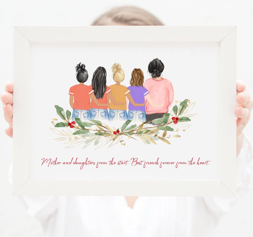 Personalized Mom and four daughters Print Art