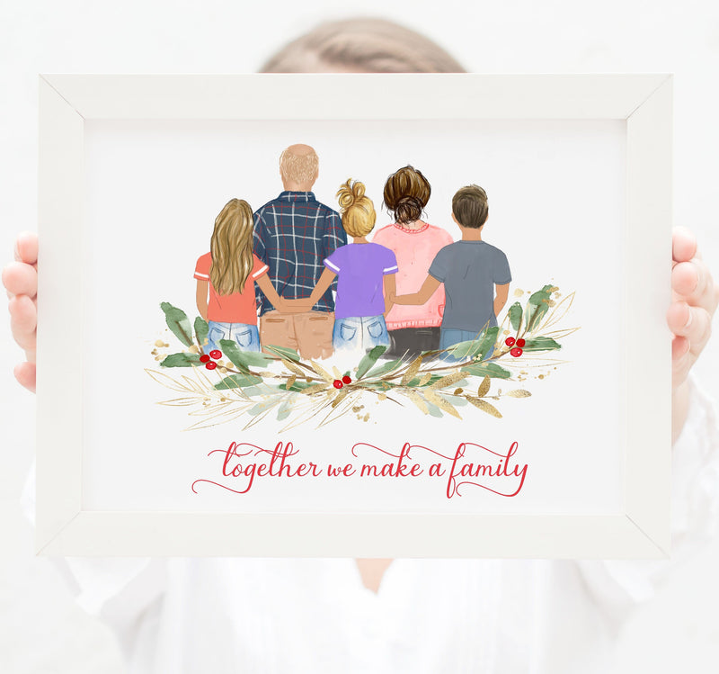 Personalized Family of five Print art, Mom, Dad, Son and two daughters
