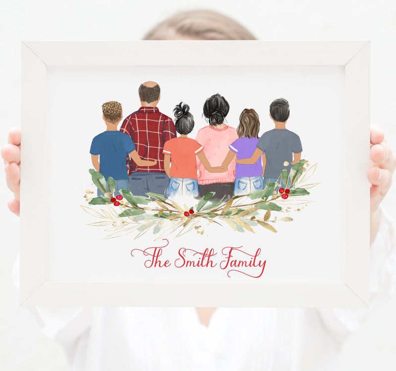 Personalized Family of six Print art, Mom, Dad, two daughters and two sons