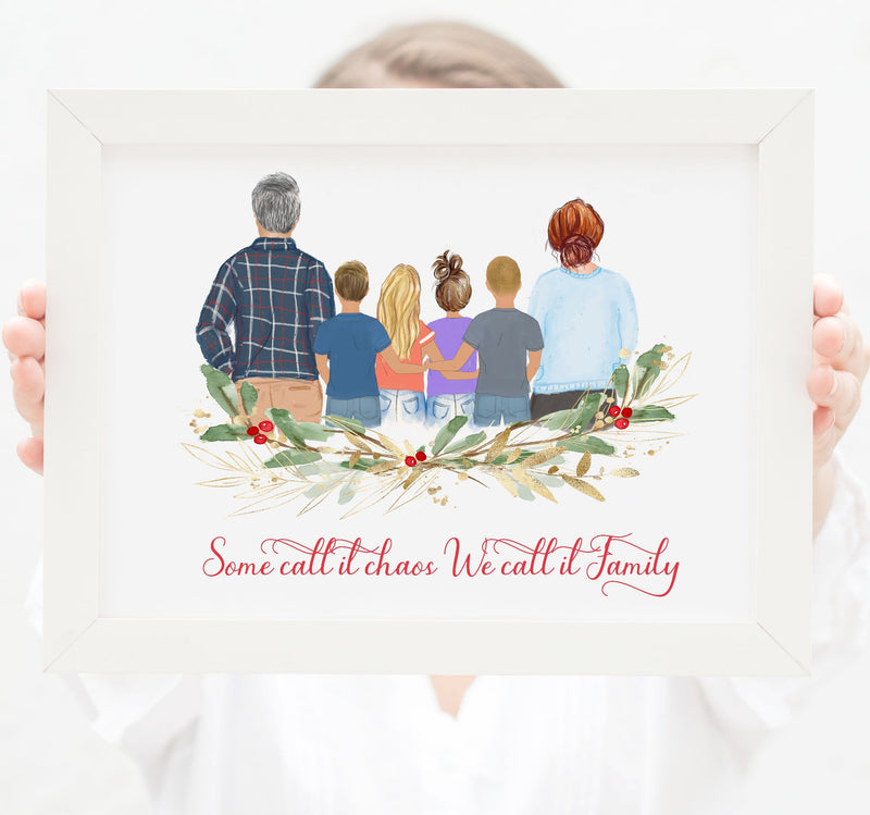 Family of six Print art, Mom, Dad, two Toddler girls and Toddler boys