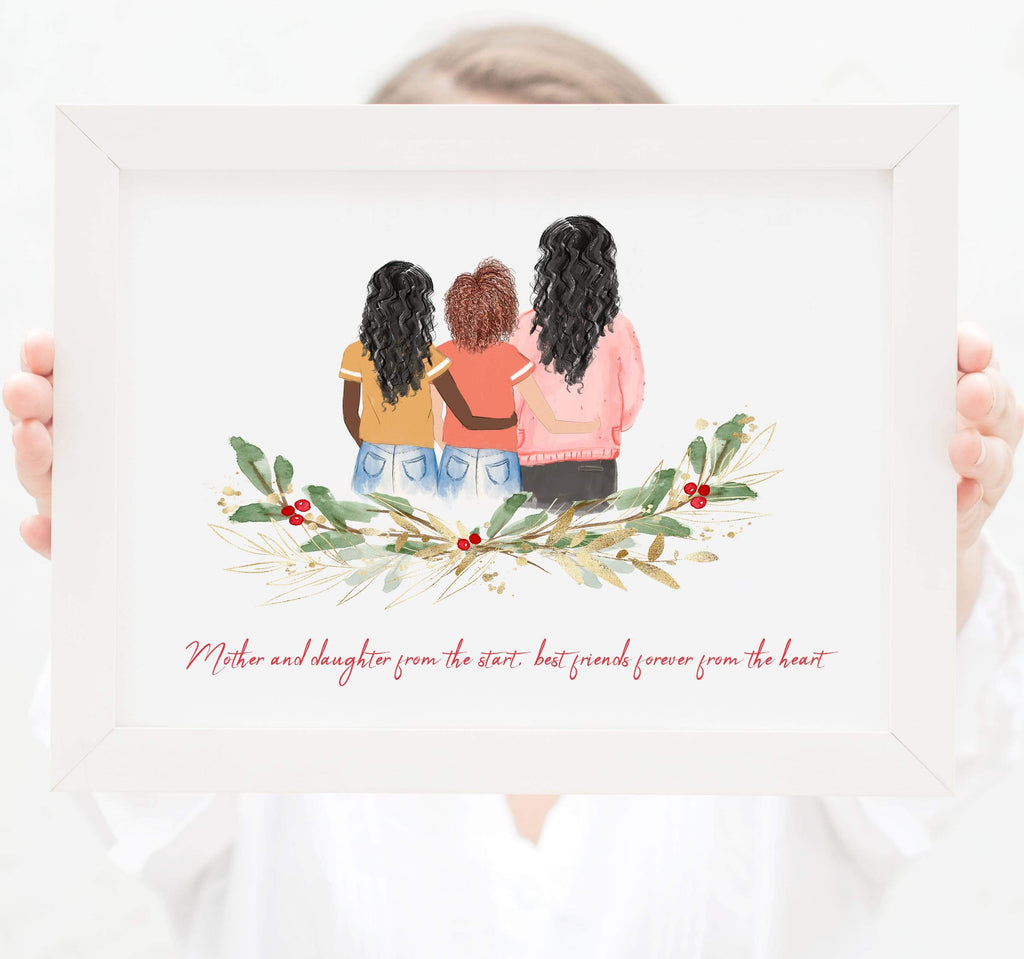 Personalized Mom and two daughters Print Art