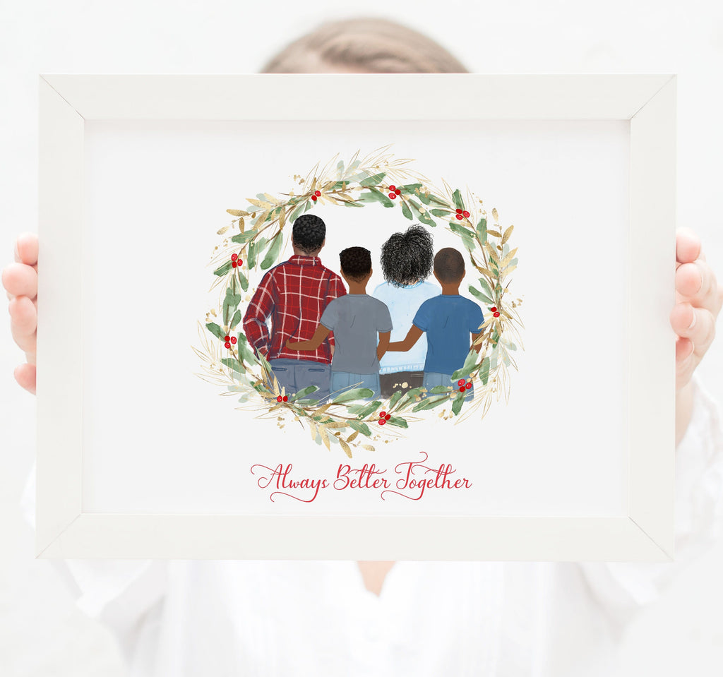 Personalized Family of four wall art Mom, dad and two teenager boys
