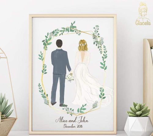 Personalized Couple Wedding Art - Custom Personalized Gifts for friends, Family & special occasions!