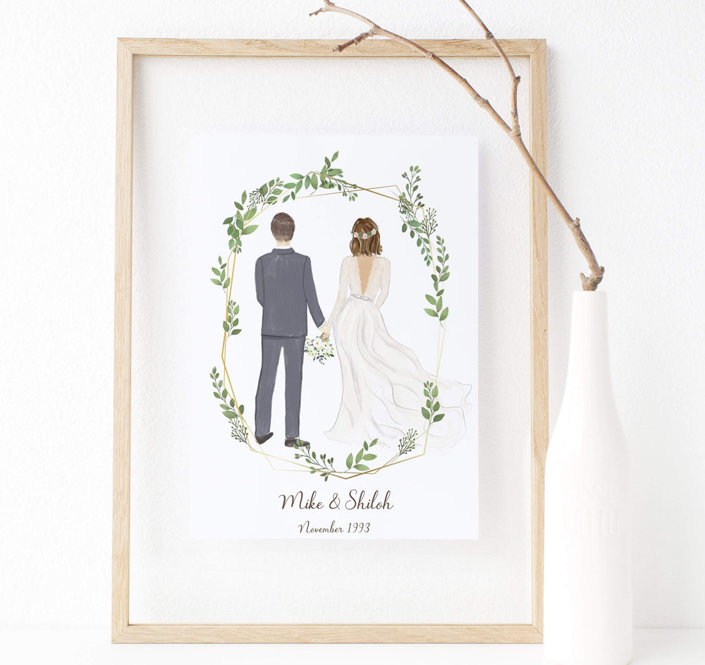 Personalized Couple Wedding Art - Surprise the bride and groom in your life with this thoughtful, one of a kind original and customizable artwork. It's the perfect gift for wedding season and newlywed couples as commemoration for their beautiful wedding day.