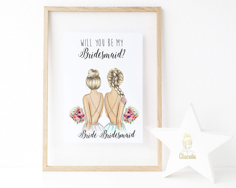 Personalized Wall Art Will you be my bridesmaid ? - We know choosing a way to ask your favorite girls to help get you down the aisle is no small task! So how about a unique and personalized gift? These customizable art prints are the perfect choice to ask your girlfriends to join you in your wedding party