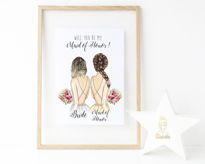 Personalized Wall Art Will you be my Maid of Honor ? - We know choosing a way to ask your favorite girls to help get you down the aisle is no small task! This customizable art lets you ask your future maid of honor in a sincere and thoughtful way