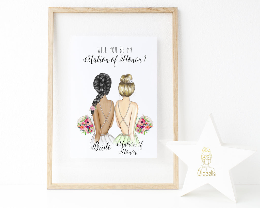 Personalized Wall Art Will you be my Matron of Honor ? - We know choosing a way to ask your favorite girls to help get you down the aisle is no small task! This customizable art lets you ask your future matron of honor in a sincere and thoughtful way