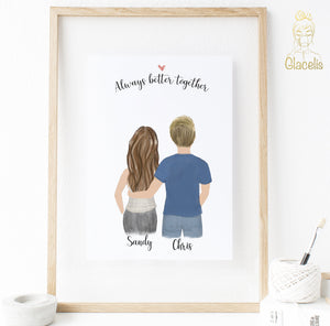 Personalized Couples Fall in Love Print art
