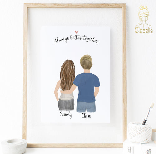 Personalized Best Friends with Male  Print art