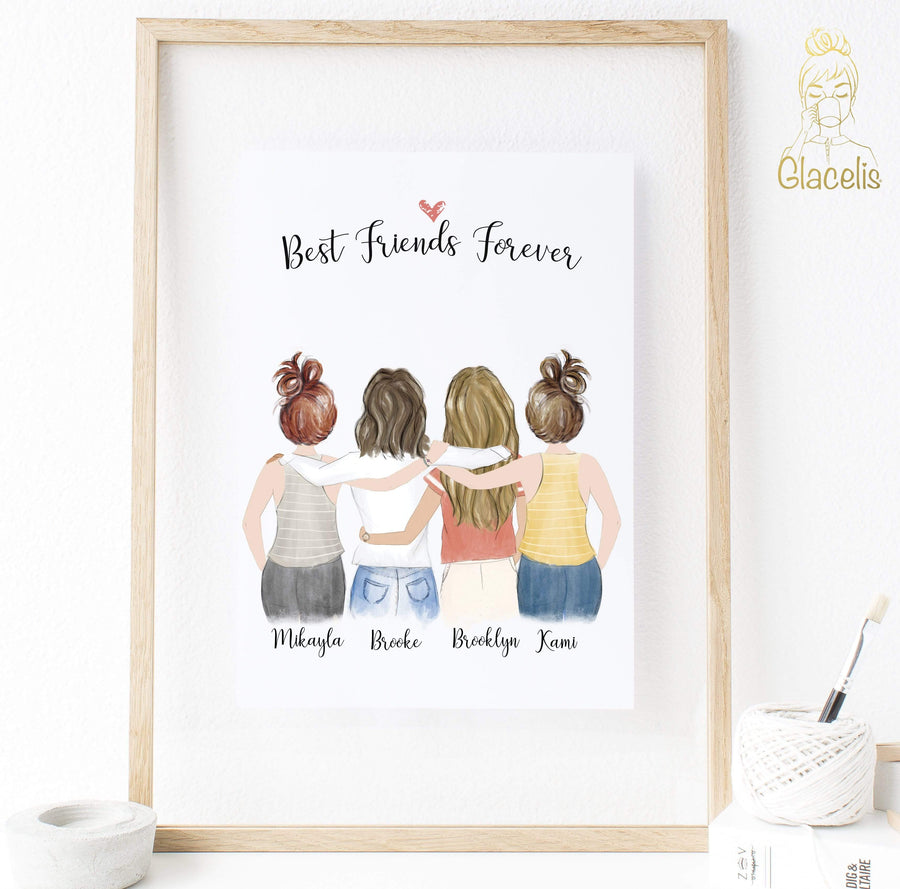 Personalized friendship Wall Art / Best Friends Forever 4 Women - Custom Personalized Gifts for friends, Family & special occasions!