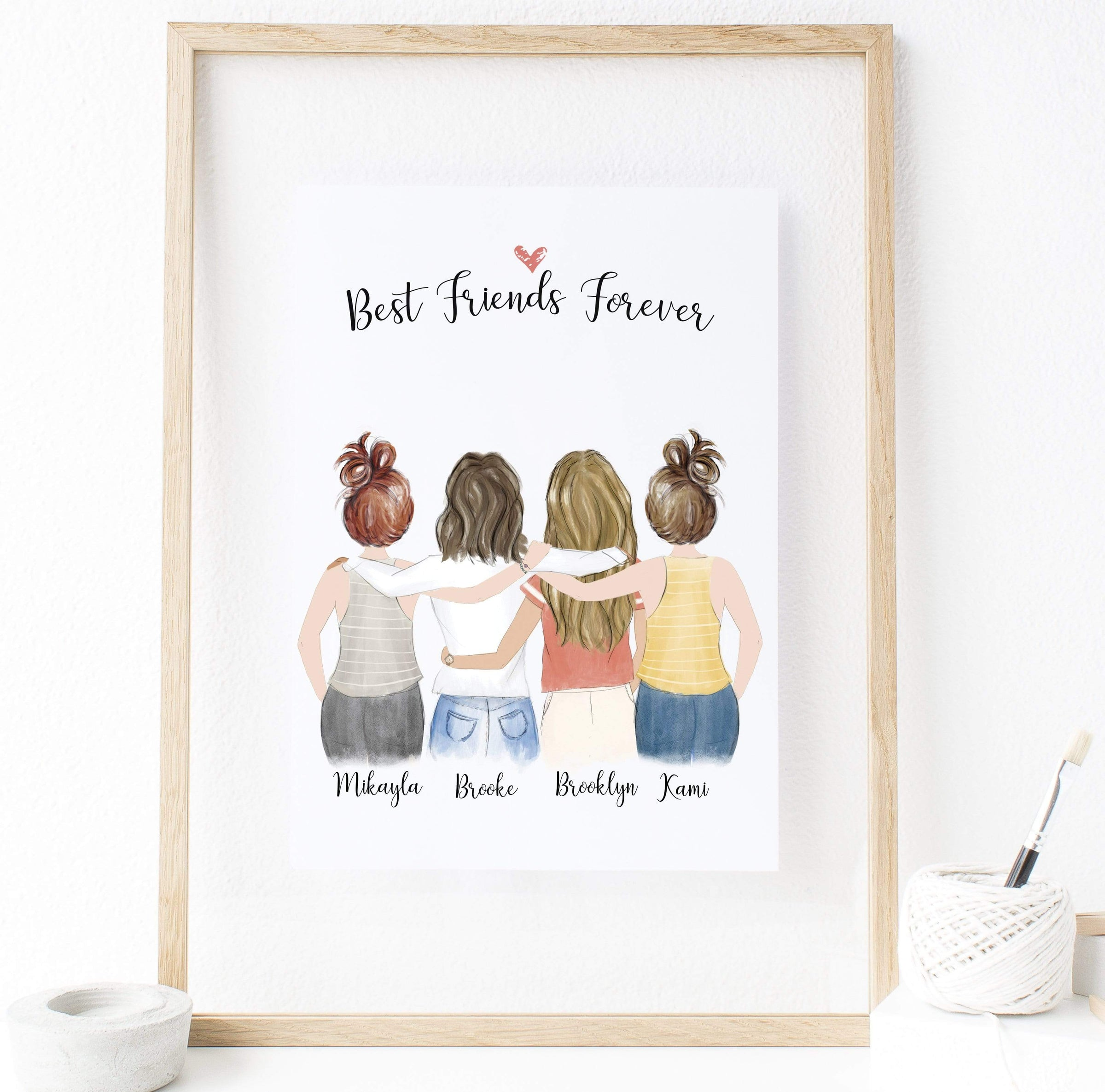 personalized friendship wall art  best friends forever 4