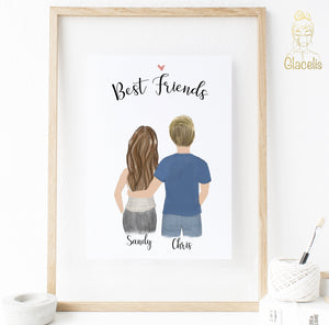 Personalized Best Friends with Male Print art - Our customizable Best Friends print is an awesome thank you gift for the best guy friend in your life