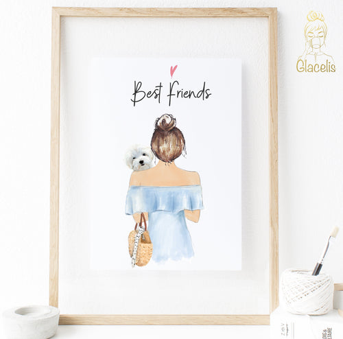 Personalized Woman and Dog Best friends Print Art - Custom Personalized Gifts for friends, Family & special occasions!