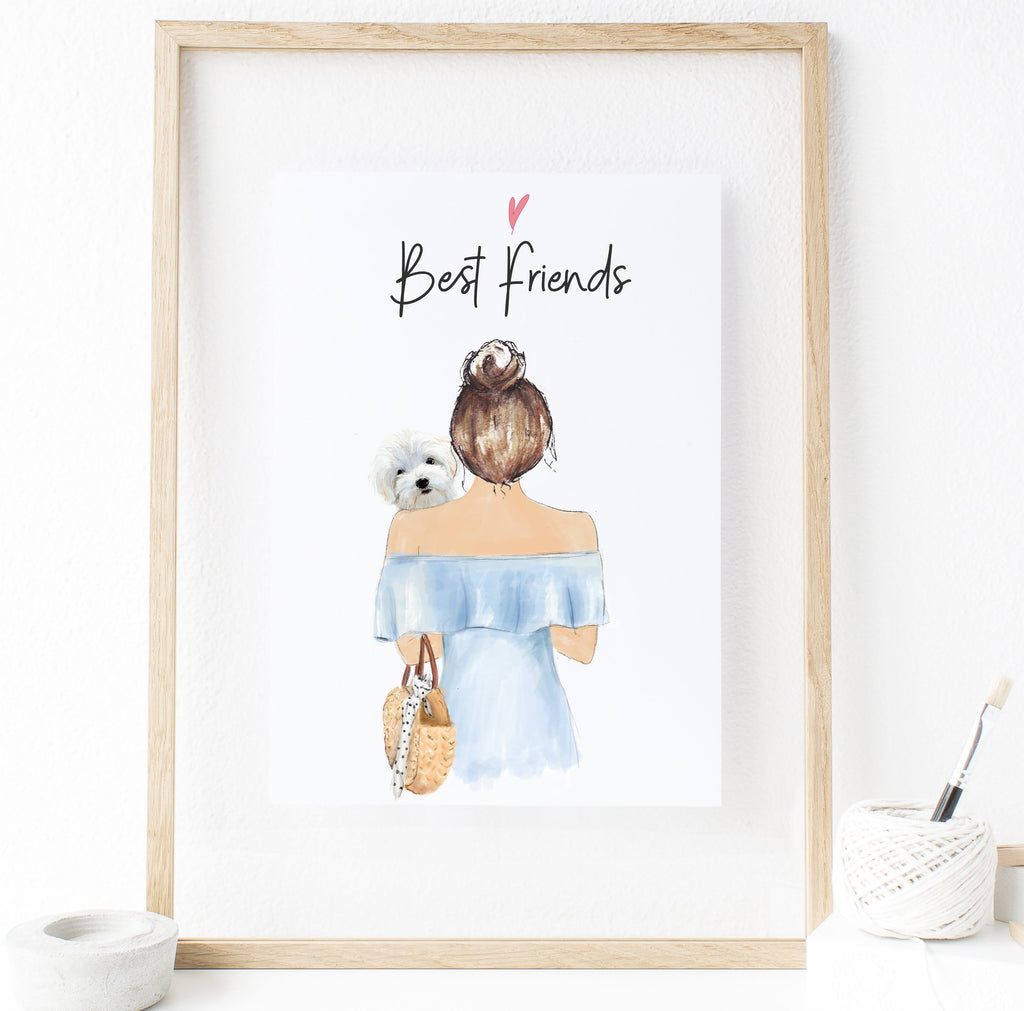 Personalized Woman and Dog Best friends Print Art - This is the perfect gift for the best dog mom in the world! If you or someone you know is a devoted dog mom, this one of a kind art print is a present worth getting