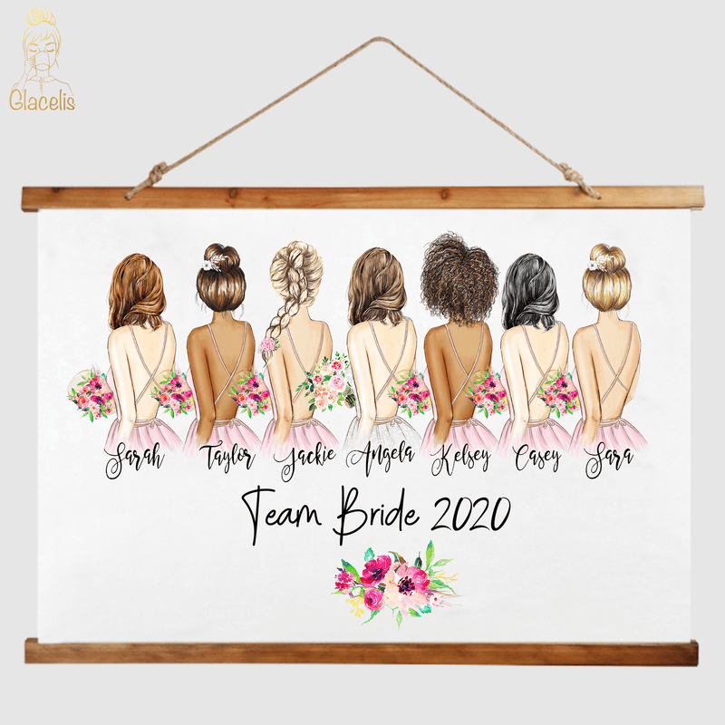 Wedding Bachelorette's Wood Topped Wall Tapestry