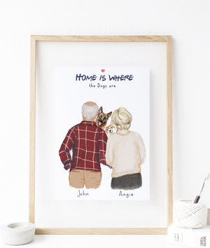 Personalized Mom, Dad, and Dog Custom Portrait