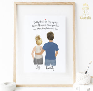 Personalized Father and Daughter Print art