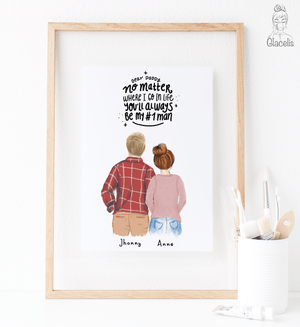 Personalized Dad and Daughter Print art