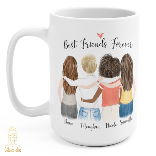 Four Women Custom Best Friends Mug