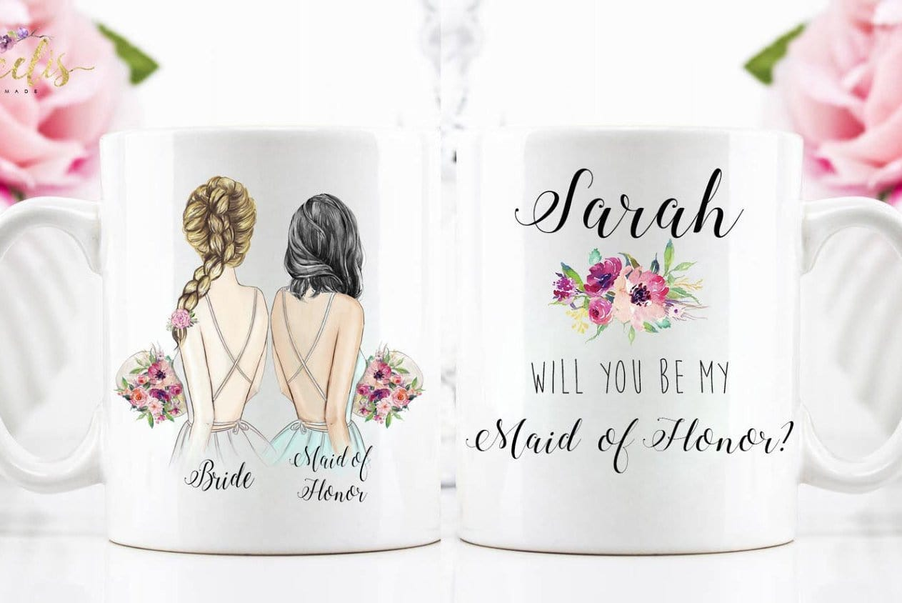 Personalized Maid of Honor Mug / Wedding party gifts – Glacelis