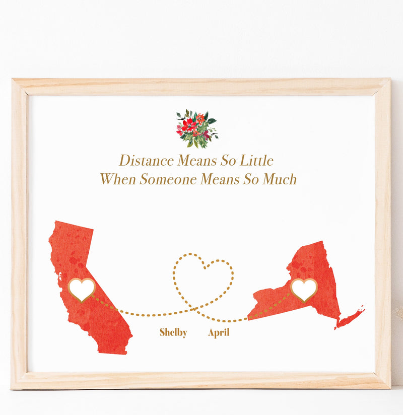 Personalized Long Distance relationship gift Art Print for Family and friends  art print
