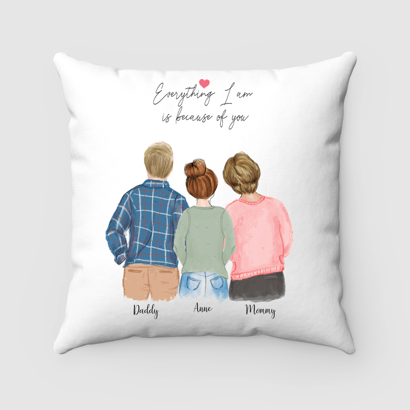 Family of Three - Mother, Father, and Daughter Pillow