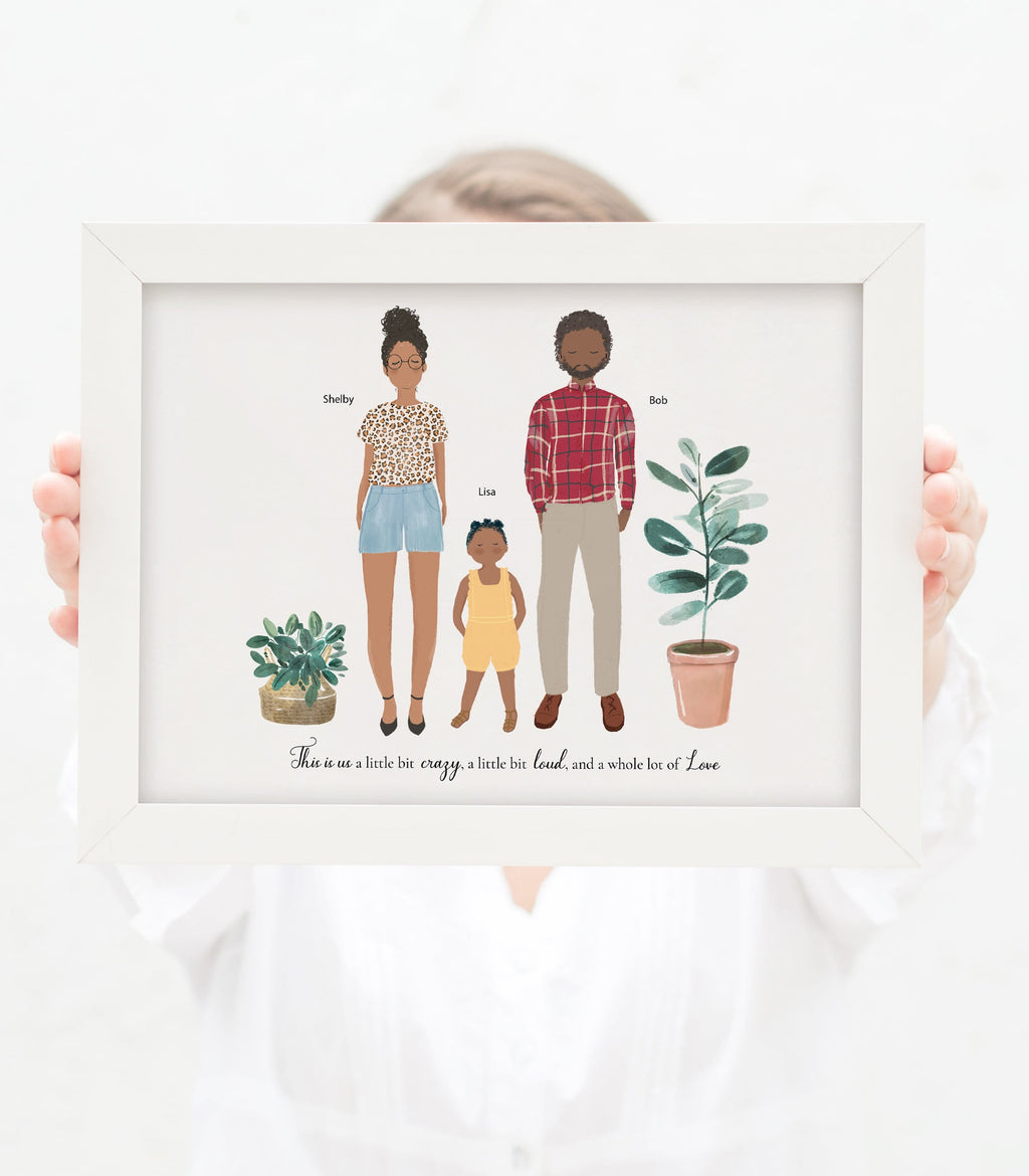 Personalized Family of Three, Dad, Mom and Kid
